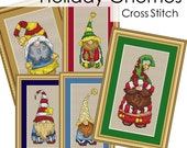 Holiday Gnomes Complete Collection Cross Stitch Patterns Fun Designs  Holiday Season Instant Download pdf Santa Christmas Winter Gnome Elf