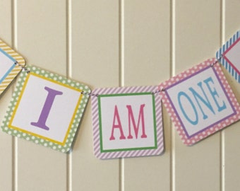 "SWEET CUPCAKE PARTY Highchair Banner 1st Birthday Party ""I am One""  Pastels  - Party Packs Available"