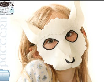 Felt Lamb Mask PATTERN.  Digital Sewing Pattern for Kids Lamb Costume