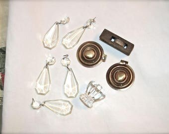Fun Collection 9 Pieces of Vintage Stuff Low Price, Brass Wood Glass Plastic