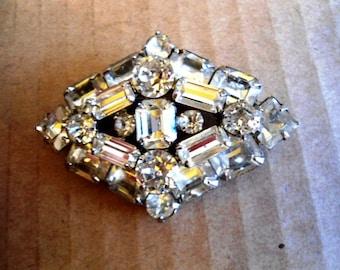 Weiss Art Deco Brooch Clear Faceted Varied Cuts of Rhinestone Rhodium Plated Vintage Wedding Jewelry Brooches Keepsake Hair Piece