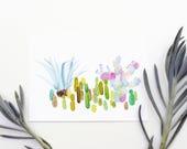 Cactus Garden 5x7 Art Print - Agave Prickly Pear Giclée Print