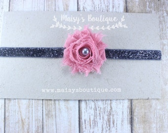 75% OFF Ready to Ship/ Newborn Mini Mauve Pink Pearl Flower Charcoal Grey Headband/ Baby Headband/ Flower Girl Headband/ Wedding