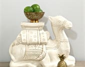 Vintage Camel Garden Stool Pottery Ceramic Plant Stand Moroccan Boho Chic Decor