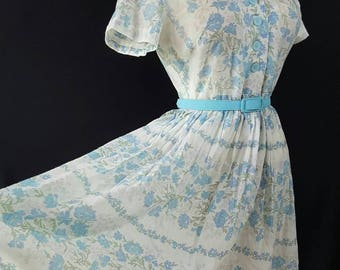 50s 60s Day Dress, Housewife, Sheer Cotton, Summer Dress, Mad Men