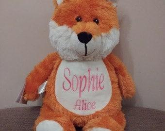 Personalised Embroidered Fox Cubbies, Stuffie, Baby, gift, New Baby, soft, Stuffed, Animal, Keepsake, Christening, Wedding, Birthday
