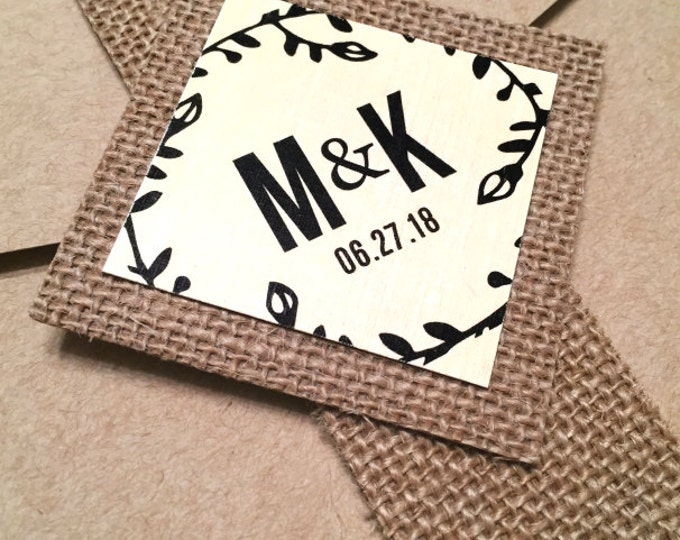 Burlap belly bands for wedding invitation. Rustic or Vintage theme. Chic wedding decor. Monogram wedding tag.
