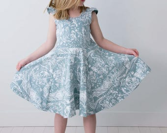 Spirit Garden Flutter Sleeve Sage Twirl Dress  - Hand Printed - Organic Dress - Easter Dress - Slow Fashion - Twirling Dress - Thief&Bandit®