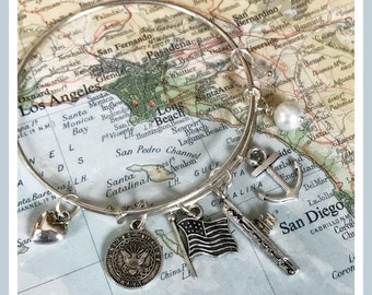 US Navy Aircraft Carrier adjustable bangle charm bracelet by Son and Sea FREE US shipping