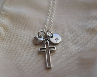 cross charm necklace, personalized cross necklace, hand stamped initial tag, heart charm, monogram necklace, gift for her, silver cross