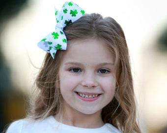 Shiny Shamrocks Large White Hair Bow - St Patrick's Day Hair Bow, Shamrock Hair Bow, Irish Bow, St Pat's Hair Bow, Shamrock, Green Hair Bow