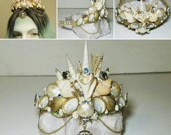 Mermaid 'True direction' tiara, seashell crown, goddess headdress, boho wedding, siren cosplay, tribal accessory, festival headpiece, fairy