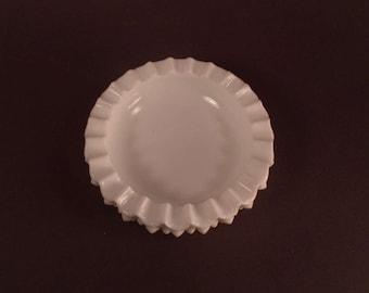 Vintage Milk Glass Ashtray, Unmarked Vintage, Hobnail