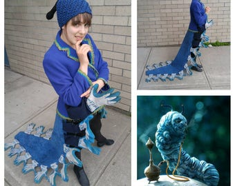 Upcyled Clothing, Caterpillar  Tailcoat, Absolem Cosplay, Repurposed Blazer and Work Gloves, Storybook Fashion, Adult S/M