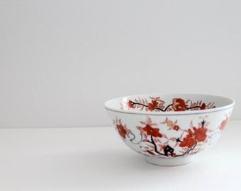 Vintage Asian Chinoiserie Decorative Bowl • Red Gray and Gold