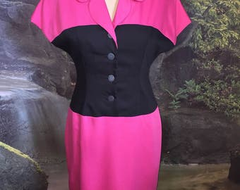 Vintage Black and Pink Dress By Dividends Size 10P