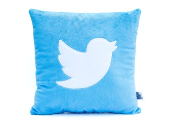Twitter Bird Icon Fleece Pillow - MADE TO ORDER
