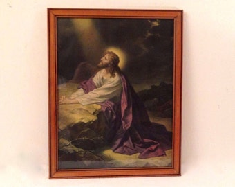 Antique Framed Religious JESUS , Christ in GETHSEMANE Vintage Lithograph Print