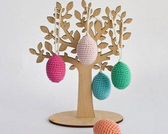 Crochet Easter Eggs Set of 5 with a Pouch - Easter Decoration, Waldorf, Montessori, Nature Table