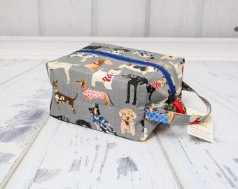 Dog breeds cute dog print fabric Knitting Project Bag, Large boxy bag, Knitting Box Project Bag.Crochet project bag, sock knitting bag