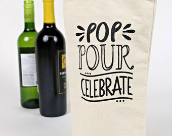 Wine Tote - Recycled Cotton Canvas - Pop Pour Celebrate