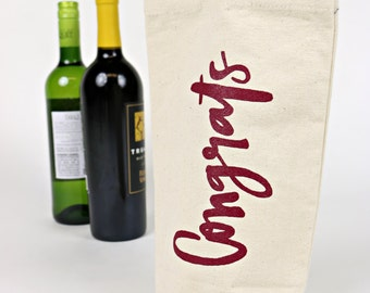 Wine Tote - Recycled Cotton Canvas - Red Congrats