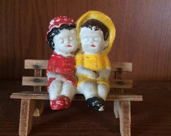 Bisque Frozen Charlotte Friends Sitting Seated Ledge Bench Sitter Vintage