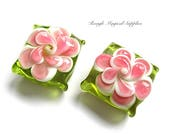 1 Pair 16mm Floral Lampwork Beads, Pink Flowers on Peridot Green Pillow Beads, Spring Colors, Lamp Work Glass Beads - Set of 2 Pieces  SP461
