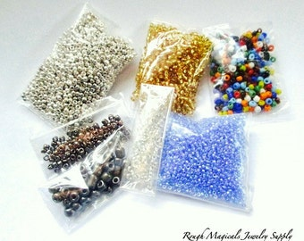 Seed Beads, Assorted Beads, Mixed Colors, Size Assortment, Tiny Beads, Small Glass Beads, Silver Gunmetal Gray Gold Blue 1 Ounce Plus  SP494