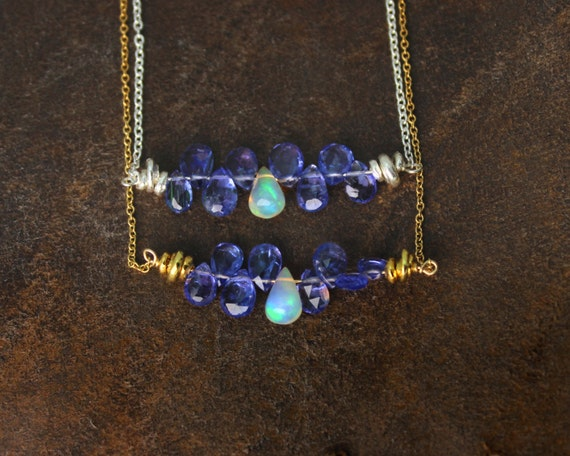 Fire Opal Necklace. Ethiopian Opal necklace.  Bar Necklace. Tanzanite Necklace. Gold Fill or Sterling Silver. NS-1919-2