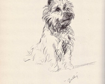Antique Dog Print, Lucy Dawson Puppy Print, Cairn Terrier, Wall Art, Antique Decor, Interior Design, 1930s Home Decor, Dog Decor, B-3
