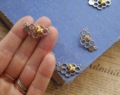 3pcs Silver Honey Comb Honeycomb Gold Bee Connector Charms Pendants 25mm (GC3208)