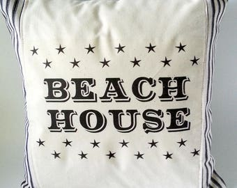 Beach Pillow - Summer Pillow - Beach House Pillow - 12 x 12 Pillow - Beach House - Summer Decor - Black Ticking Pillow - Beach Decor