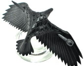 Leather Raven Barrette, MEDIUM Handmade Raven Stick Barrette, Black Crow Hair Decor - MADE To ORDER