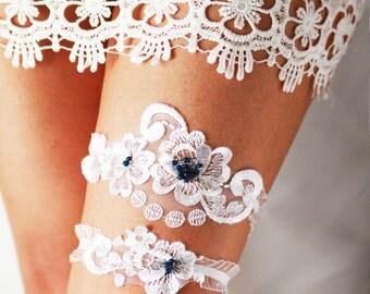 Wedding Garter Bridal Garter - Lace Garter Navy Blue Garter - Vintage Inspired White Garter - Rustic Garter Bohemian Garter