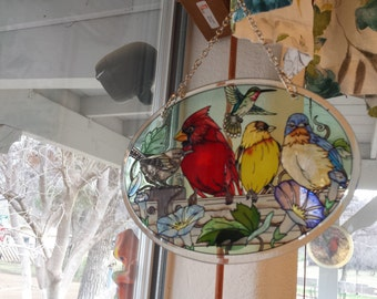 Vintage Amia Hand painted stain glass window decor. lovely birds