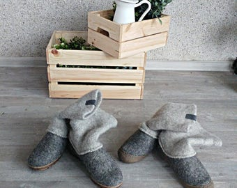 READY to SHIP Boiled wool shoes from organic wool with rubber toe soles and knitted uppers size EU40/us womens 9