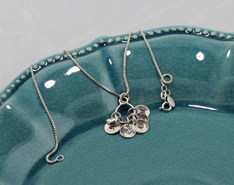 Mother's Necklace; Sterling Silver, Petite Script Initial Pendants (1 to 5), with a Heart Charm on 16 to 24-Inch Sterling Box Chain
