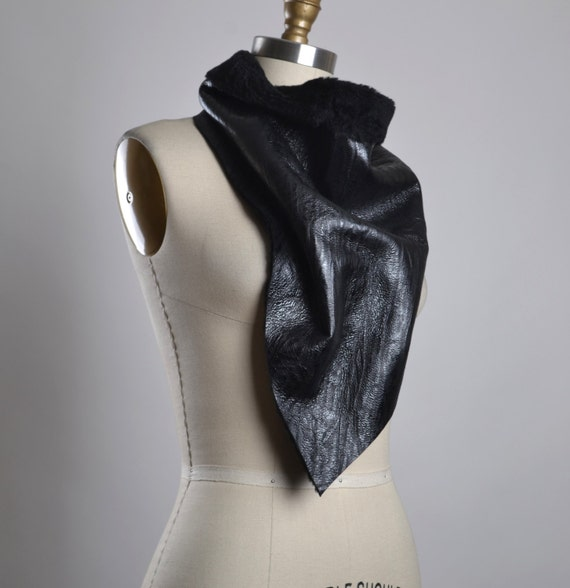 OOAK Leather Scarf - Black Leather Scarf - Leather Scarf - Unisex Scarves - Men's Scarf - Leather Accessories