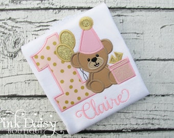 Pink and Gold Teddy Bear Birthday Shirt - Girls Birthday Shirt - Teddy Bear Shirt - Presents - Balloons - Teddy Bear Theme - Applique Shirt