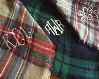 Monogrammed Plaid Blanket Scarf - Monogram Plaid Blanket Scarf - 16 Monogram Styles to Choose From - Christmas Gift Idea - Tailgate Scarf