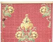 REMNANT of Vintage Wallpaper, Single 36 Inch Piece - Segmant of Antique Wallpaper with Gold and Green Floral Designs on Red