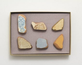 Brown & Blue Stones Magnets   Unique Terracotta Magnets, Israel Sea Founds Pottery, Beach Shards Gift, Set of 6 Magnets Super Strong, Noga
