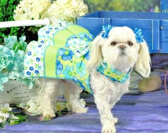 SPRING:  Flower Power Green & Turquoise DOG DRESS