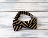 Black and Gold Striped Bow Tie - Infant Baby Toddler Boys Mens Bow Tie - Preppy Bow Tie - Photo Prop-Wedding-Ring Bearer Tie - READY TO SHIP
