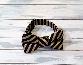 Black and Gold Striped Bow Tie - Infant Baby Toddler Boys Mens Bow Tie - Preppy Bow Tie - Photo Prop - Wedding Tie - Ring Bearer Tie