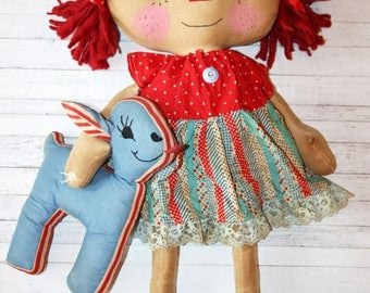 Giant Patriotic 4th of July Annie with Blue Lamb - Primitive Raggedy Ann Dolls (HAFAIR)