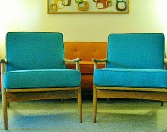 Pair of Mid Century Danish Modern Lounge Chairs restored new turquoise cushions vintage mcm Pearsall era