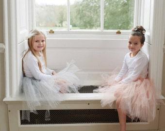 Pale Grey Flower Girl Tutu, Tulle Skirt, Bridesmaid tutu, Ballet Tutu UK, Grey Girls Tulle Tutu Skirt UK