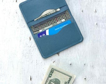 Personalized Wallet, Turquoise Holder, Minimal Wallet, Leather Card Cover, Gift For Her, Passport Holder, ID Wallet, Business Wallet